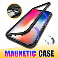 For iPhone X Xr Xs Max Magnetic Adsorption Metal Flip Tempered Glass Case Cover