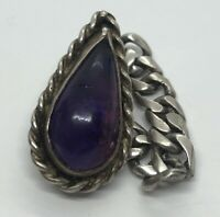 Vintage Sterling Silver Ring 925 Size 7 Chain Amethyst