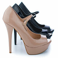 Confident01 Mary Jane Peep Toe Platform Stiletto Heel Dress Pumps