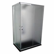 BOX DOCCIA ANGOLARE 80x120 REVERSIBILE 120x80 6mm CRISTALLO TEMPRATO OPACO H.185