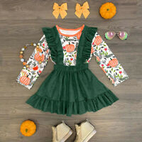 2PCS Toddler Baby Girl Halloween Long Sleeve T Shirt Tops+Strap Skirt Outfit Set