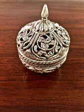 INDIAN / BURMESE STERLING SILVER COVERED JAR: CHASED DECORATION PIERCED LID