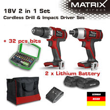 NEW MATRIX 20v Lithium Cordless Drill Impact Driver Set 2 Battery Charger 32Bits