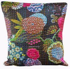 "Indian Handmade 16X16"" KANTHA work Cotton Cushioncovers Ethnic Homedecor Art"