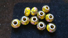 10 YELLOW GLASS BEADS WITH PINK ROSES