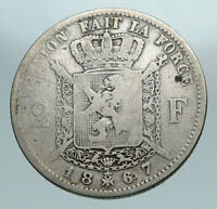 1867 BELGIUM with King LEOPOLD II and LION Genuine Silver 2 Francs Coin i84217