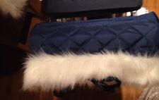 FUR HAND MUFF FOR SILVER CROSS COACH BUILT DOLLS PRAM IN NAVY