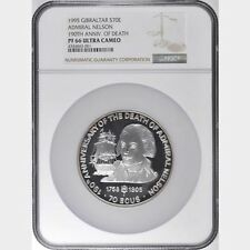 GIBRALTAR  1995  70 ECUS SILVER COIN GEM SUPERB PROOF, CERTIFIED NGC MS66