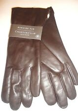 Ladies Rabbit Fur Genuine Leather Gloves, Brown, XLarge