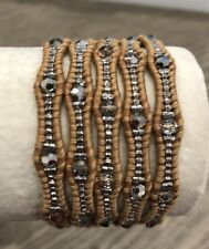 New Auth Chan Luu Crystal Cal Five Wrap Bracelet on Beige Leather