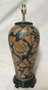 Handpainted Terracotta Thai Blossom Table Lamp Dark Blue
