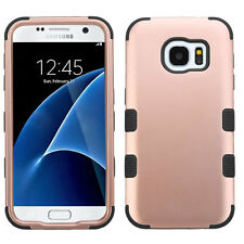 For Samsung Galaxy S7 Edge G935 Rose Gold Black Tuff Hybrid Phone Case Cover