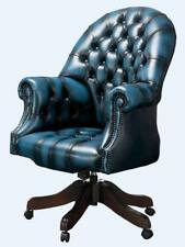Chesterfield Vintage Directors Swivel Office Chair Antique Autumn Blue Leather