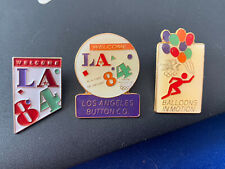 3x Rare Olympics Pin Badges LA 1984 Los Angeles USA Welcome Buttons Balloons