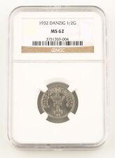 1932 Danzig 1/2 Gulden Nickel Coin MS-62 NGC Gdansk Poland Free City KM-153
