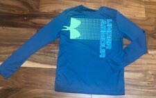 Boy Under Armour Teal Green Blue Crossfade Long Sleeve Shirt Large Heat Gear EUC