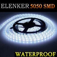 5M 5050 SMD 300 LED Daylight White Strip Light Waterproof 12V DC + Female Plug