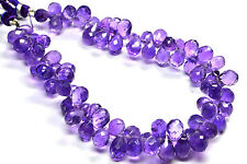 """PH-051 Natural Amethyst Drops Faceted Gem Beads 6x9mm-6x10mm 148Ct 8.5"""" Strand $"""