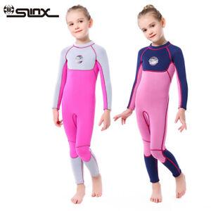 SLINX 3MM Girls Snorkeling Wetsuit Diving Suit Long Sleeve Warm Swimwear