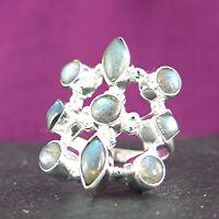Ring 925 Sterling Silber - Silberring mit Labradorit - Fingerring Damenring 3913