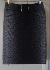 JOSEPH RIBKOFF Elastic Waist Stretch Knit Knee-Length Skirt w Faux Belt ~ Sz 8