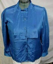 Vtg ladies Sz 40 / Xl blue button up polyester blouse w tie by Coret Career