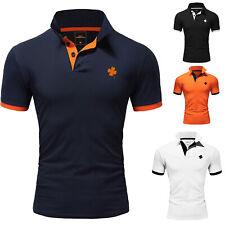 Herren Poloshirt Kleeblatt Kontrast Basic Kragen Kurzarm Polohemd T-Shirt 5105