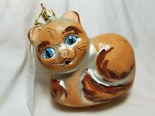Italy Glass Ornament Hand Painted Cat Kitten NWT