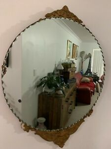 Antique Victorian Scalloped Edge Round Mirror Plaster Cast Frame
