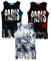 Girls Tie Dye Paris Eiffel Tower Fringe Hem Sleeveless Cotton Top 3 to 6 Years