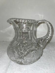 Lead Crystal Cut Glass Small Pitcher Etched Floral Design - Made In Poland? EUC