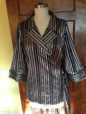 Lane Bryant 18/20 Long Sleeve Black and Silver Striped Wrap Blouse