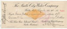 1901 Revenue Stamped Paper Check Butte City Water Co Montana