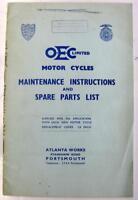 OEC 1955 Original Motorcycle Owners Handbook and Parts List