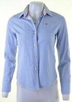 JACK WILLS Womens Shirt Size 8 Small Blue Striped Cotton  HX28