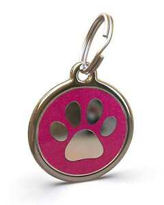Pet Dog Cat ID Engraved Name Tag Personalized Stainless Steel Pink Glitter Paw