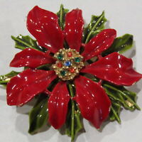 Vintage Christmas Poinsettia Brooch Signed ART Red Green Rhinestones High End 2""