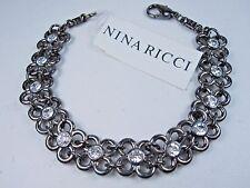 "with Swarovski Crystal- 7 1/4"" 0927 Nina Ricci Antique Rhodium Plated Bracelet"