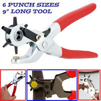 "6 Sized 9"" Heavy Duty Leather Hole Punch Hand Pliers Belt Holes Punches Tool KY"