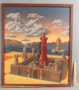 1977 Large Orig JULIAN LANDA Surreal Oil Painting, Castle Chess Pieces Gameboard