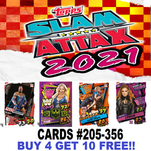 Topps WWE SLAM ATTAX 2021 CARDS #205-356 BUY 4 GET 10 FREE  Foils Heroes Legends