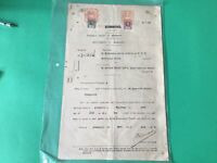 Singapore 1913 Court Summons Document & Revenue stamps Folded  Ref R28371