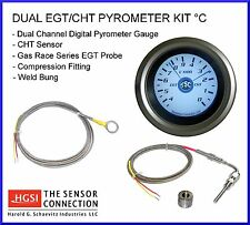 Dual EGT/ CHT Digital Gauge Pyrometer w/ Fast Response EGT Probe & CHT Sensor °C