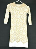 Chelsea & Violet Women's XS 3/4 Sleeve Fitted Sweater Dress Tan & White
