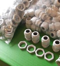 Grande Presse-étoupe PG21 Gris Nylon IP68 Câble 13.0 mm - 18.0 mm + contre-écrou x 2 lots