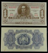 Bolivia Paper Money 1 Boliviano 1928 AU-UNC