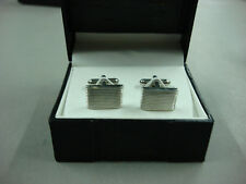 NWT Men's Geoffrey Beene Cuff Links Rectangle Silver Color #330B
