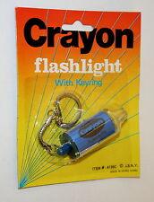 Toy Vending Prize Crayon Blue Key Chain Flashlight 1970s NOS New