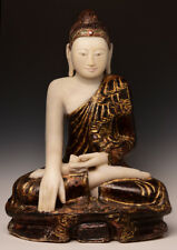19th Century, Mandalay, Antique Burmese Alabaster Seated Buddha
