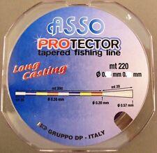 MONOFILO CONICO PROTECTOR TAPERED LINE 0,20 - 57 MM ASSO 220 MT PESCA SURF LINE
